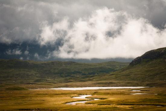 River Bà, Meall Mòr, Glas Bheinn & Beinn a' Ghreachain, shrouded in clouds
